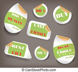 Set of Easter labels with text - Last Chance, Best Choice, Buy, Quality, Best Gift