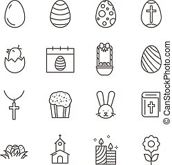 Set of Easter line vector icons.