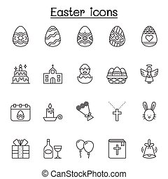 Set of Easter Related Vector Line Icons. Contains such Icons as egg, gift, church, rabbit, chicken, bible, balloon, flower, cross, angel, celebration and more.