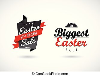 Set of Easter sale labels with red ribbons.