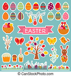Set of Easter stickers.