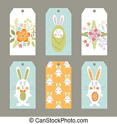 Set of Easter tags