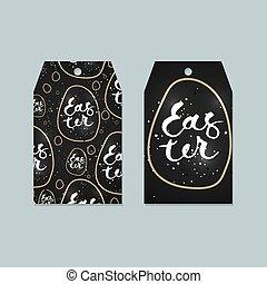 Set of Easter tags. Vector labels design.
