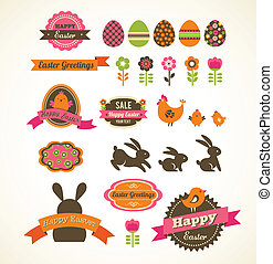 Set of easter vintage elements, banner, labels and frames -...