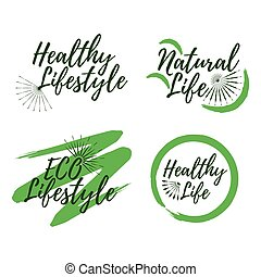 Set of Eco and Natural Life label. Healthy Lifestyle badges. Vector illustration icon with Sunburst