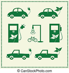 Set of eco cars icons