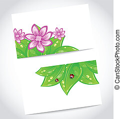 Set of eco friendly cards with green leaves