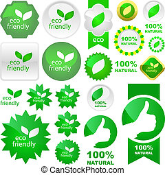 Set of eco friendly signs. Usable for different design.