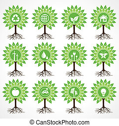Set of eco icons on tree
