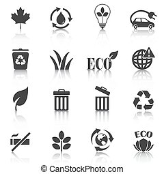 Set of eco icons, recycle, trash bin . Vector illustration