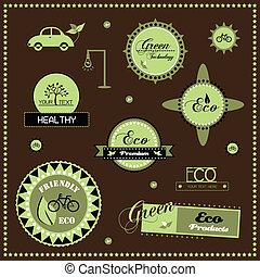 Set of eco labels