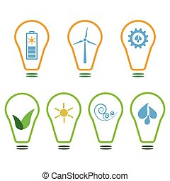 Set of eco logos - Set of logos presenting eco-friendly...