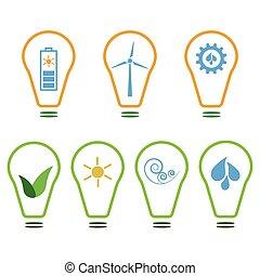 Set of eco logos - Set of logos presenting eco-friendly...