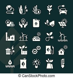 Set of eco vector icons in flat style isolated on dark background.