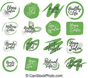 Set of Eco, Yoga club, Spa center and Sport salon label. 16 Healthy Lifestyle badges. Vector illustration icon with Sunburst