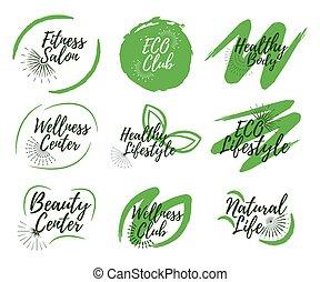 Set of Eco, Yoga club, Spa center and Sport salon label. 9 Healthy Lifestyle badges. Vector illustration icon with Sunburst