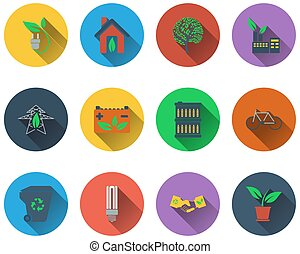 Set of ecological icons
