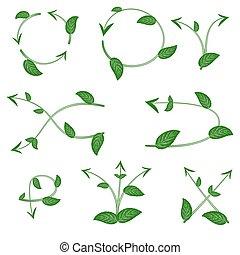 Set of ecological leaf arrow on white background