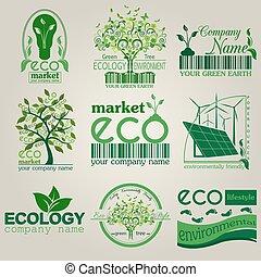 Set of ecology, environment logos