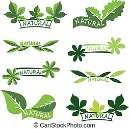 Set of ecology icons or logos with green leaves