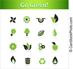 Set of ecology icons. Vector art