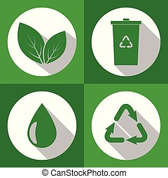 Set of ecology icons with long shadow. Green color. Flat design. Vector illustration. EPS 10.