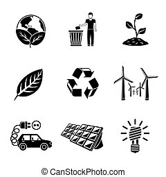 Set of ECOLOGY icons with - recycle sign, green earth, leaf, garbage disposal, wind power, plant, solar power station, light bulb, electro car. Vector