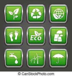 Set of ecology web buttons