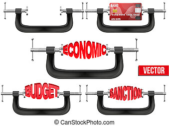 Set of Economy and budget being squeezed in a vice.