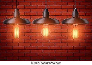 Set of edison light bulb with metal shade - Decorative ...