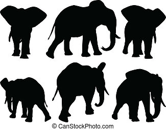 Set of editable vector silhouettes of African elephants in...
