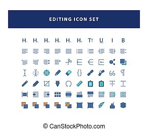 set of Editing Design icon with filled outline style design vector