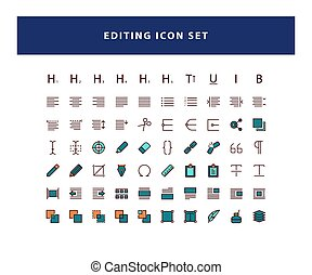 set of Editing Design icon with flat style design vector