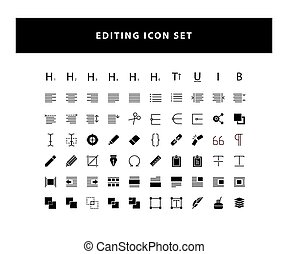set of Editing Design icon with glyph style design vector