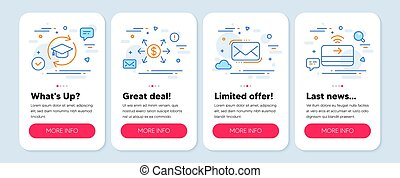 Set of Education icons, such as Dollar exchange, Messenger mail, Continuing education symbols. Vector