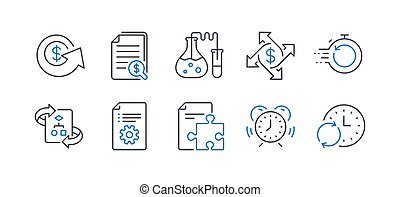 Set of Education icons, such as Fast recovery, Technical algorithm, Financial documents. Vector
