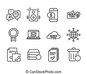Set of Education icons, such as Recovery server, Phone payment, Handout. Vector