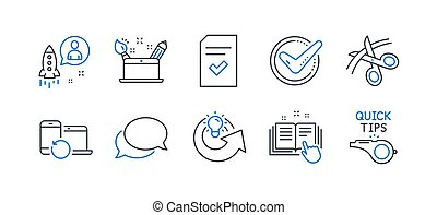Set of Education icons, such as Scissors, Creativity concept, Messenger. Vector