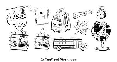 Set of education items doodles