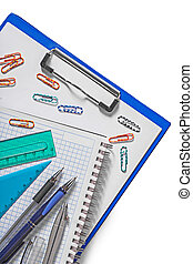set of education tools on white background