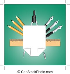 Set of educational decoration tools. Sheets of paper,...