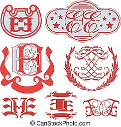 Set of EE monograms and emblem templates - Set of EE...