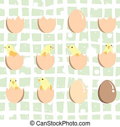 Set of eggs and chickens