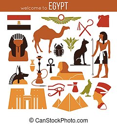 Set of Egypt symbols and landmarks. Flat vector...