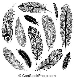 Set of Ehnic feathers can be used as a greeting card or for your business