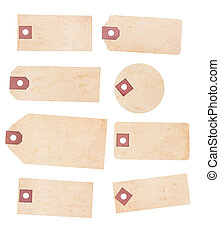 Set of Eight Aged, Yellowing Paper Tags