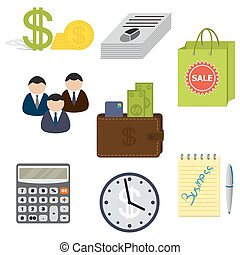 Set of eight business items, isolated on a white background.