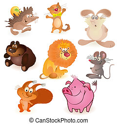 Set of eight funny animals - mouse, pig, rabbit, bear,...