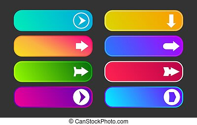 Set of eight modern gradient buttons with arrows