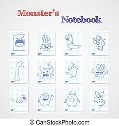 Set of eight notebook sheets with funny monsters.
